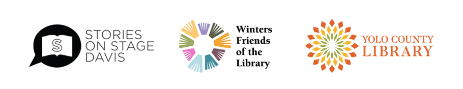 Logos of Stories on Stage Davis, Winters Friends of the Library and Yolo County Library